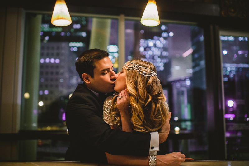 Couple embrace at Hobby Center